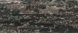 Wandtegel en vloertegel marmer Nero Portore  305x73x10 mm glanzend VISGRAAT Prijs per m2