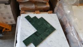 Wandtegel en vloertegel marmer Verde Mare 305x73x10 mm glanzend VISGRAAT Prijs per m2