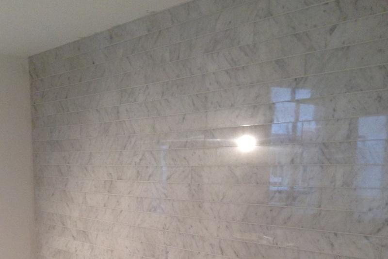 Ongebruikt Wandtegel marmer Carrara Super wit grijs strips vrije lengte 80x8 TT-31