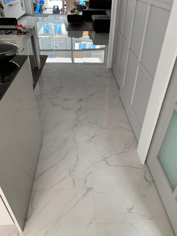 Vloertegel en wandtegel Marmer-look  Statuario Blanc 75x75x10 mm Mat Prijs per m2