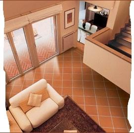 terra cotta vloertegels woonkamer