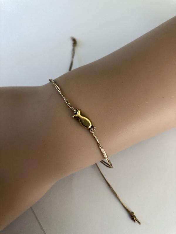 Armband met geluksvisje brons