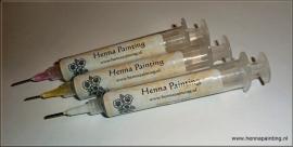 3 Henna Spuiten met 3 botte naalden (Standaard/Fijn/Extra Fijn)