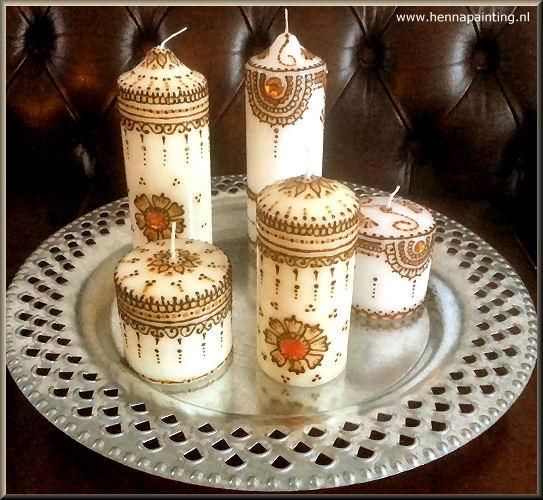 Kaarsen Beschilderen Met Acrylverf.Henna Kaarsen