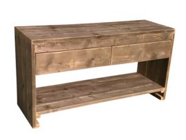 Badkamermeubel van oud steigerhout *Geimpregneerd afm: L160xB50xH76cm (voorraad magazijn artikel)