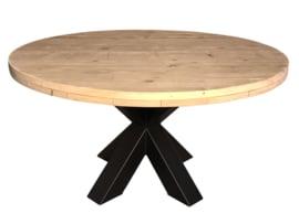 Tafel steigerhout rond geimpregneerd met stalen dubbele X onderstel afm: D150xH78cm (voorraad magazijn artikel)