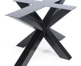 Stalen onderstel 3D gepoedercoat (knock-down) koker 10x10cm (lang) Zilver (voorraad magazijn artikel)