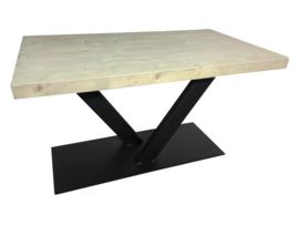 Industriële tafel balken 7x24.5cm grey wash met stalen V onderstel koker 120x60 (RECHT)