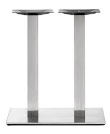 Horeca tafelonderstel vierkant dubbel RVS look