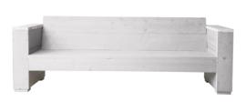 Loungbank steigerhout massief 3- zits kleur schelpwit