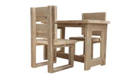 Doe-Het-Zelf bouwpakket complete kinder set 1 tafel en 2 stoelen van steigerhout
