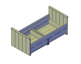 Doe-Het-Zelf bouwpakket eenpersoonsbed met 2 lades van oud of nieuw steigerhout