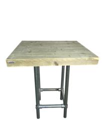 Statafel/bartafel met steigerbuis (100x100) (110 hoog)