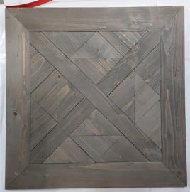 Salontafel met zwart steigerhout blad met buisframe onderstel afm: L90xB90xH46cm (voorraad magazijn artikel)