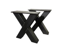 Stalen onderstel model X bank koker 10x5cm B38cm x H41cm  (voorraad magazijn artikel)