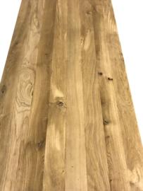 Tafel treinrail onderstel met dikke eiken rustieke planken (RECHT)