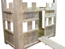 Kasteelbed van nieuw of oud Steigerhout gemaakt (HHK)