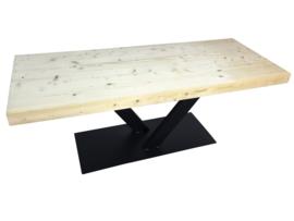 Industriële tafel met een nieuwe steigerplanken blad en stalen V onderstel koker 120x60 (lero)