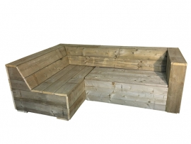 Lounge hoekbank oud steigerhout met 1 armleuning (lhb)