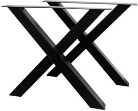 Stalen tafel onderstel model kruis X koker 8x8cm (STRIP)