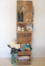 Staand wanddecoratiebord met sterren van oud steigerhout (voorraad)