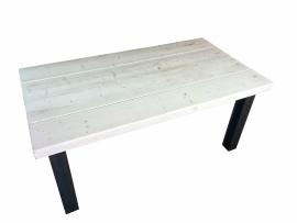 Tafel van 24x7cm balken white wash met stalen H balk onderstel