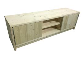 Tv meubel van oud of nieuw steigerhout met 2 deurtjes en schap