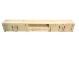 Tv meubel van nieuw steigerhout met 4 deuren en open vak