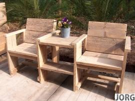 Doe-Het-Zelf bouwpakket tweezitter met tafeltje van oud of nieuw steigerhout