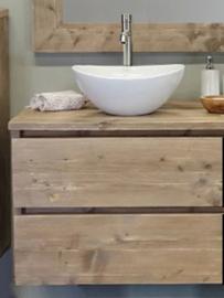 Badkamermeubel ilona zwevend van steigerhout met 2 lades (ZW)