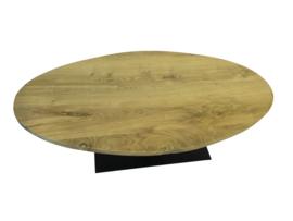 Salontafel ovaal eikenblad 4cm met een stalen V onderstel koker 200x100 (LIJM)