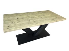 Industriële tafel met stalen V onderstel met dikke steigerplanken (RECHT)