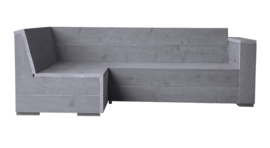 Hoekbank steigerhout enkele leuning kleur beton grijs