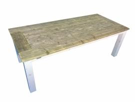 Tafelblad van oud steigerhout en white-wash onderstel (RVERSTEK)