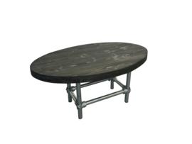 Ovale salontafel steigerbuis van nieuw steigerhout behandeld met blackwash