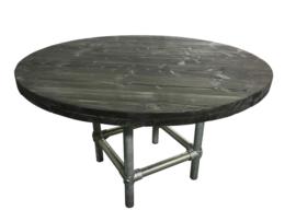 Tafel van steigerhout in de kleur blackwash rond model met steigerbuis