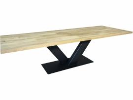 Industriële tafel stalen V onderstel met een eikenblad wildverband verlijmd (WILD)