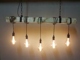 Hanglamp industrieel houten balk 5 fittingen 150cm