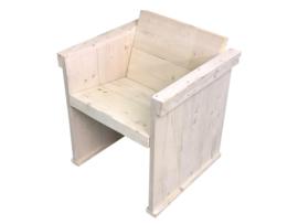 Eettafel- stoel van nieuw steigerhout behandeld met een whitewash (voorraad koopjeshoek)