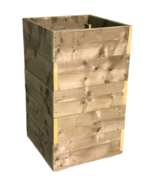 Bloembak / plantenbak oud steigerhout 60x60x125cm
