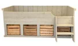 Bed steigerhout fruitkisten Koen kleur zand (JPFK)
