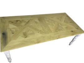 Tafel gemaakt met een eiken mozaiek blad afm L120xD60cm (voorraad magazijn artikel)