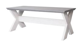 Eettafel Kruispoot steigerhout beton grijs tafelblad & Schelpwit onderstel