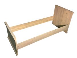 Bed steigerhout met waterafstotende greywash: L160,170,180,190,200xB70cm (voorraad magazijn artikel)