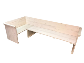 Hoekbank steigerhout  zij en rug leuning (WH)
