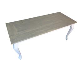 Tafel van eikenhout behandeld met greywash verstek rand afm: L220xB90cm (voorraad magazijn artikel)
