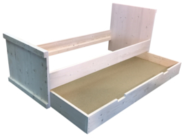 Bed van steigerhout behandeld met schelpwit inclusief opberglade afm: L200xB80cm (voorraad magazijn artikel)
