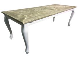 Tafel gemaakt met een blad van mozaiek oud steigerhout *geimpregneerd afm: L220xB80xH78cm (voorraad magazijn artikel)