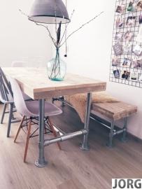 Doe-Het-Zelf bouwpakket bank met steigerbuis van oud of nieuw steigerhout