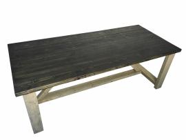 Tafel dikke steigerplanken met een oud houten onderstel